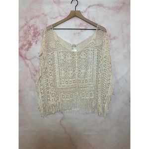 India Boutique Crochet Overlay Top